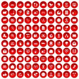 100 mail icons set red. 100 mail icons set in red circle isolated on white vector illustration Royalty Free Stock Image