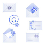 Mail icons with snowflakes. Set of mail icons with snowflakes for winter and Christmas Royalty Free Stock Photo