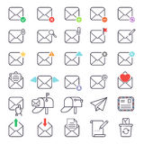 Mail icons vector set. Envelope mail icons plane shopping and other icons for e-mail. Mail icons symbol message letter send. Web communication mail icons Royalty Free Stock Image