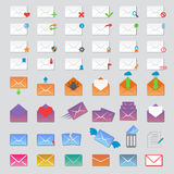 Mail icons vector set. Envelope mail icons plane shopping and other icons e-mail. Mail icons symbol message letter send. Web communication mail icons address Stock Image