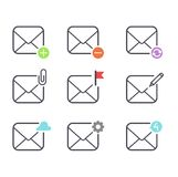 Mail icons vector set. Envelope mail icons plane shopping and other icons for e-mail. Mail icons symbol message letter send. Web communication mail icons Royalty Free Stock Photography