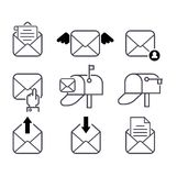 Mail icons vector set. Envelope mail icons plane shopping and other icons for e-mail. Mail icons symbol message letter send. Web communication mail icons Stock Photography