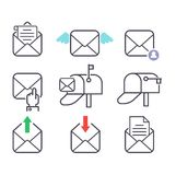 Mail icons vector set. Envelope mail icons plane shopping and other icons for e-mail. Mail icons symbol message letter send. Web communication mail icons Stock Photos