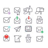 Mail icons vector set. Envelope mail icons plane shopping and other icons for e-mail. Mail icons symbol message letter send. Web communication mail icons Stock Image