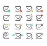 Mail icons vector set. Envelope mail icons plane shopping and other icons for e-mail. Mail icons symbol message letter send. Web communication mail icons Royalty Free Stock Photo
