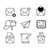 Mail icons vector set. Envelope mail icons plane shopping and other icons for e-mail. Mail icons symbol message letter send. Web communication mail icons Royalty Free Stock Photos