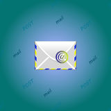 Mail. Illustration of post background with mail and text Stock Photography