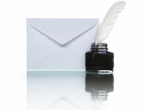 Mail, ink and quill Stock Photography