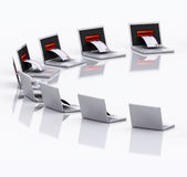 Mail Laptop - 3D illustration isolated Stock Images