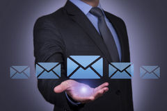 Mail Letter Sending on Human Hand. On working business concept Royalty Free Stock Photo