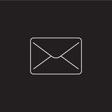 Mail line icon, message outline vector logo. Illustration, envelope linear pictogram isolated on black Stock Photos