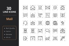 30 Mail Line Icons. High quality law line icons. Icons for user interfaces and web Stock Photo
