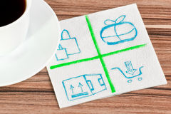 Mail logo on a napkin. And cup of coffee Royalty Free Stock Photos