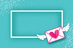 Mail Love. Envelope in paper cut style. Origami Pink Heart.. Angel wings. Valentines day Greeting card. Rectangle frame. Space for text. Be my valentine.14 Stock Photo
