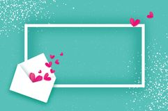 Mail Love. Envelope in paper cut style. Origami Pink. Hearts. Valentines day Greeting card. Rectangle frame. Space for text. Be my valentine. 14 february Stock Photography