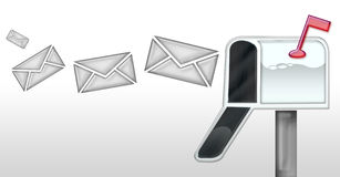Mail in the mailbox. Letters or emails going into a mailbox royalty free stock photo