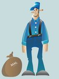 Mail_man. Vector cartoon of a mail man Royalty Free Stock Photo