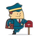 Postman with mailbox Stock Image