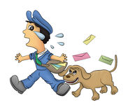 Mail man and dog Royalty Free Stock Image