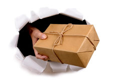 Mail man or postman delivering or giving parcel through torn white paper background Stock Photography