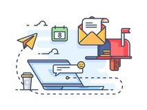 Mail marketing mailing to e-mail. Receiving messages on laptop. Vector illustration Royalty Free Stock Image