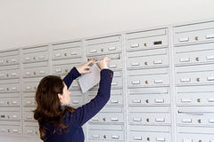 Mail marketing. Woman inserting marketing envelopes in mail box Stock Photos