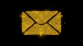 Mail Massage Icon Sparks Particles on Black Background.