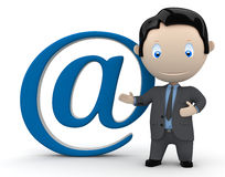 Mail me. Social 3D characters. Businessman in suit pointing to the @ email sign. New constantly growing collection of expressive unique multiuse people images Stock Photos
