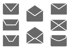 Mail, message and envelope web icons set Royalty Free Stock Photo