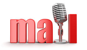 Mail with Microphone (clipping path included) Stock Photos
