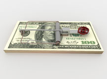Mail and Mouse Trap from 100 Dollar Bill Bundle, Render on White Royalty Free Stock Images