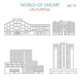 Mail municipal public moderne de bâtiment de ville d'architecture de Lineart illustration de vecteur