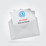 Mail not found, return to sender. Envelope with message for the sender - 404 error Royalty Free Stock Image
