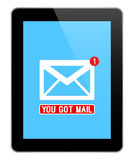 Mail Notification On Modern Black Tablet Royalty Free Stock Image