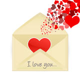 Mail opening with hearts Royalty Free Stock Photography