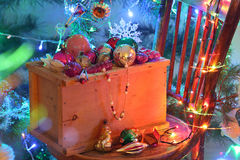 Mail order a box of Christmas toys Royalty Free Stock Images