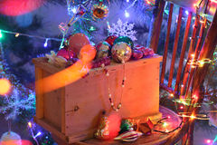 Mail order a box of Christmas toys Stock Photo