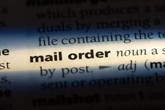 Mail order. Word in a dictionary.  concept stock photos