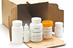 Mail Order Medications. With box Royalty Free Stock Photos