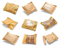 Mail package envelope box used open postal Stock Photos