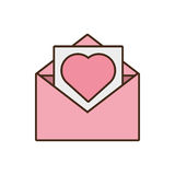 Mail paper heart envelope pink icon Royalty Free Stock Images