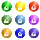 Mail phishing icons set vector royalty free illustration