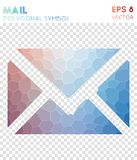 Mail polygonal symbol. Astonishing mosaic style symbol. imaginative low poly style. Modern design. mail icon for infographics or presentation stock illustration