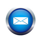 Mail post sending icon. Round blue mail sending icon Royalty Free Stock Image
