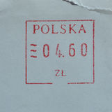 Mail postage meter from Poland. Postage meter from Poland used for stamp cancellation on letters Stock Photos