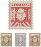 Mail Postage Stamp 75 with cartoon face Stock Image