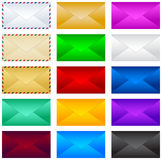 Mail postal envelope vector illustration set, collection. Royalty Free Stock Images