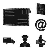 Mail and postman black icons in set collection for design. Mail and equipment vector symbol stock web illustration. Mail and postman black icons in set Royalty Free Stock Images