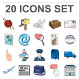 Mail and postman cartoon icons in set collection Stock Images