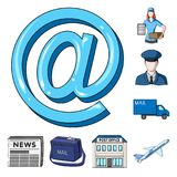 Mail and postman cartoon icons in set collection for design. Mail and equipment vector symbol stock web illustration. Mail and postman cartoon icons in set Stock Photos